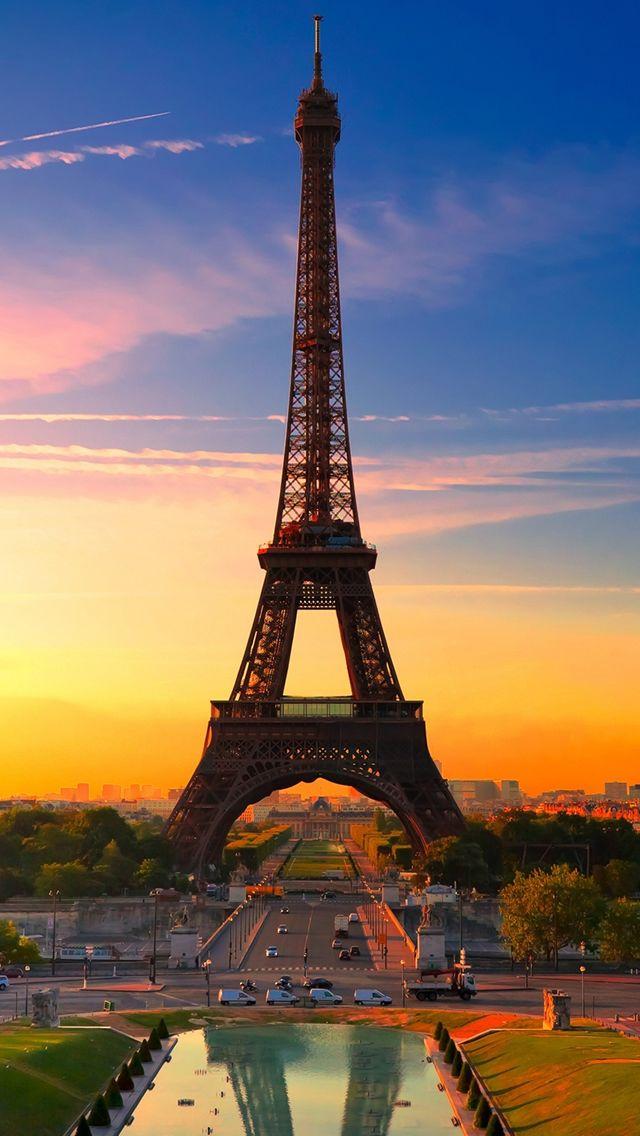 Nature Sunset Eiffel Tower #iPhone #5s #Wallpaper
