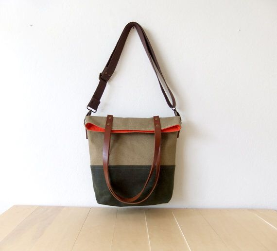 Waterproof Foldover Bag - Convertible Tote - Waxed Canvas Base - Cotton Adjustable Strap - Leather Handles - Orange Lining by metaphore on Etsy https://www.etsy.com/au/listing/208616460/waterproof-foldover-bag-convertible-tote