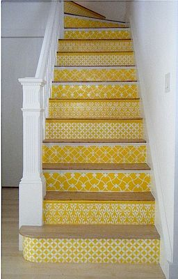 i don't have a stairway to do this, but there is a step-up in the laundry room that would benefit from a little pattern...