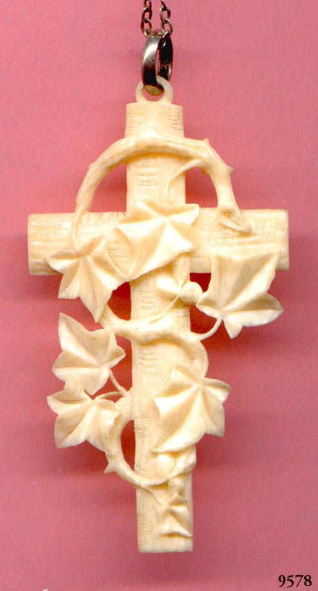 Cross Pendant  Carved Ivory Pre Ban