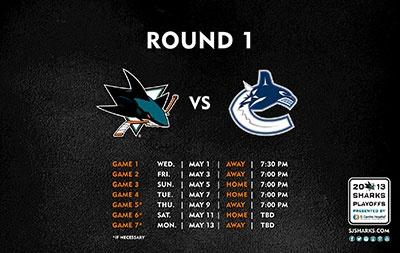 2012-13 San Jose Sharks Round 1 Playoff Wallpaper versus Vancouver Canucks