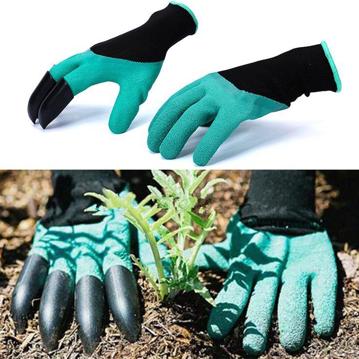 1 Pair Karet Polyester Pembangun Taman Cakar Sarung Tangan Kerja Lateks 4 ABS Plastik Kualitas Tinggi