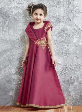 e0724d91cf Wine Satin Silk Kids Designer Gown 718265