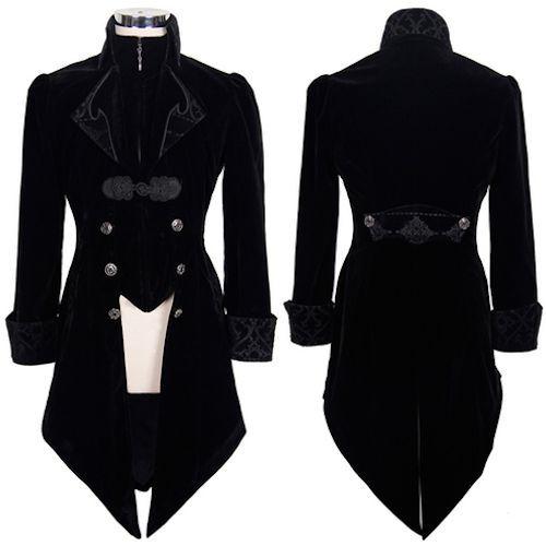 Men Black Velvet Victorian Gothic Fashion Dress Tail Trench Coats SKU-11401034