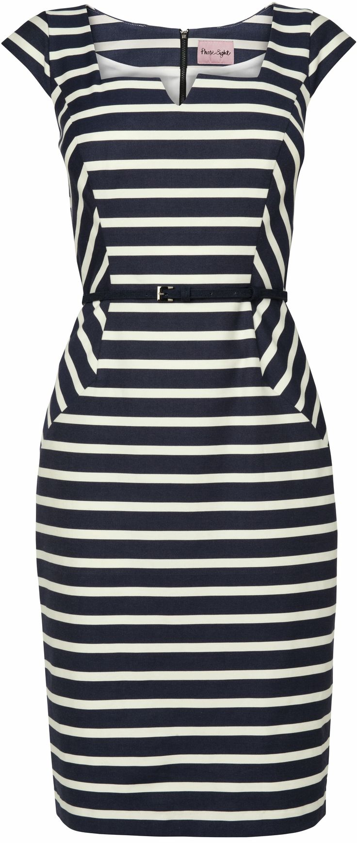 Cute striped dress - optical illusion - http://www.boomerinas.com/2013/02/12/cruise-clothing-nautical-stripes-sailor-style/
