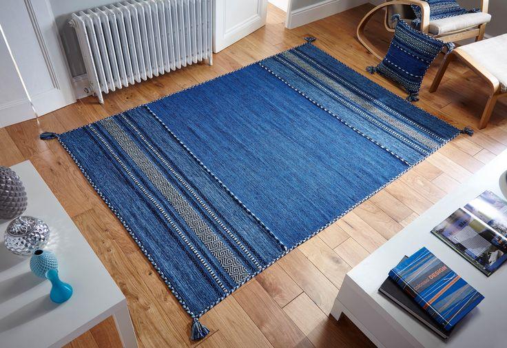 Skilfully hand woven, this Kelim Blue Rug is a beautiful flatweave rug. #flatweaverugs #cottonrugs #kelimrugs #durablerugs #runners