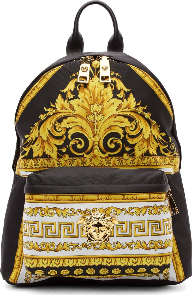 Versace Black & Gold Baroque Print Backpack