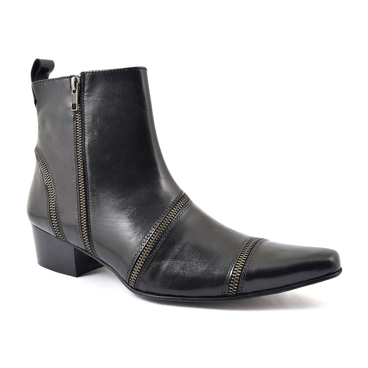 You can't get more rock and roll than this black zip up cuban heel boot. It has an Indie feel to it and is very very cool. The heel is 4.5 cm and the zips are edgy. • Leather upper, purple leather lining, man-made sole