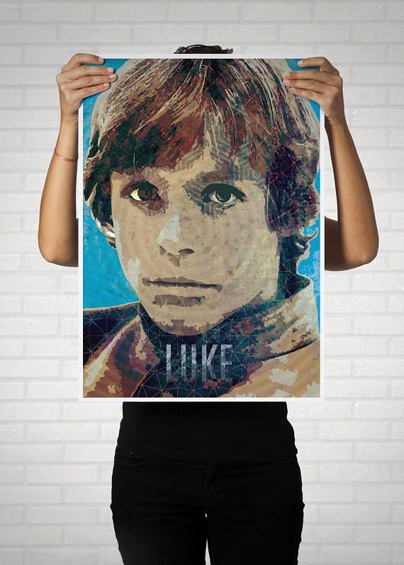 Luke Skywalker, lamina, ilustración digital, poster guerra de las galaxias, decoración, colección