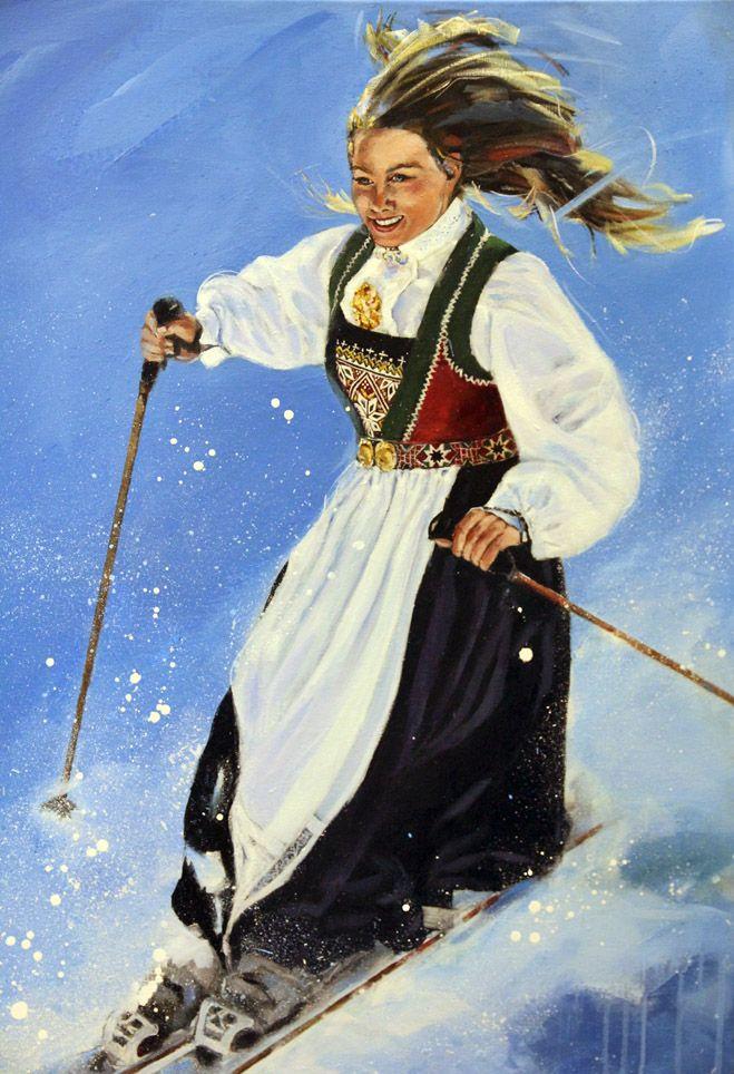 """Vossajente på ski"". Kari Wang art. ""Girl from Voss with national costume"". Akrylic on canvas 90x120 cm"