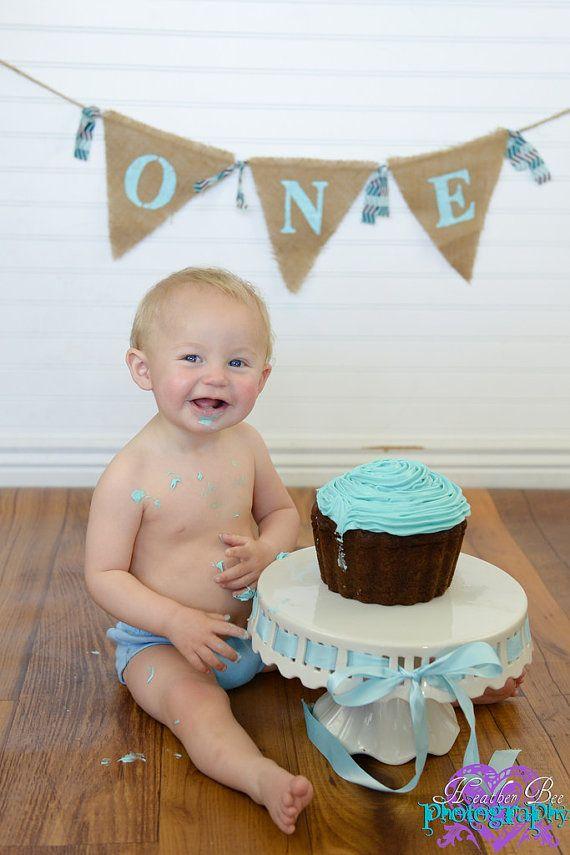 Burlap Baby Birthday Banner - High Chair Banner - First Birthday - Boy
