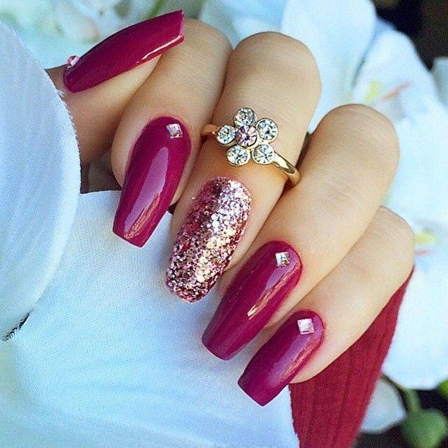 Berry Long Coffin Nalis + Glitter + Rhinestone #nail #nailart #pink | Huda Kattan @hudabeauty Websta (Webstagram) Love that Gold Flower Ring <3