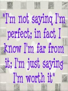No estoy diciendo que soy perfecto, de hecho sé que estoy lejos de eso, yo sólo digo que yo lo valgo