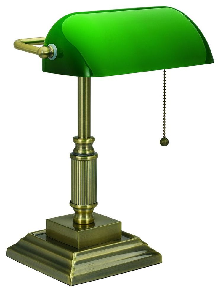 Bankers Traditional Desk Lamp Green Glass Shade Style Home Office Library Law #VLight
