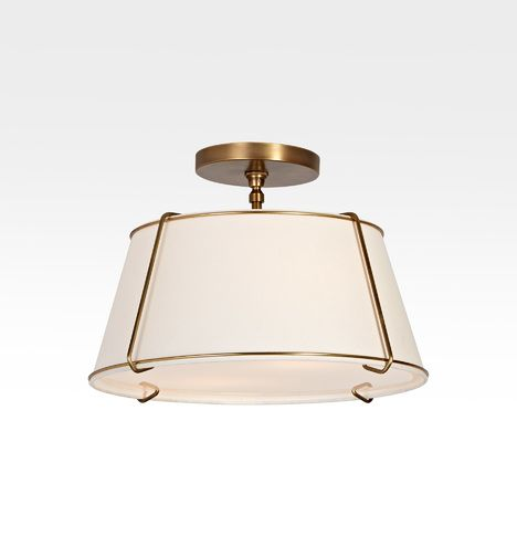 Conical 16in. Drum Semi-Flush Fixture Antique Brass A0914