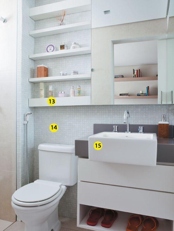 25+ melhores ideias sobre Estantes Prateleira Para Banheiro no Pinterest  Es -> Banheiro Pequeno E Clean