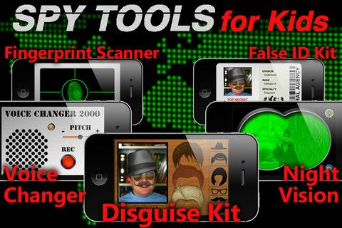 Spy Tools for Kids iPhone app - disguises, ids, fingerprint scanner, voice changer, and night vision goggles.