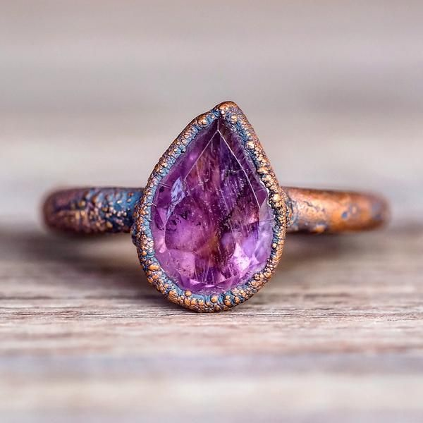 Amethyst Tear Drop and Copper Ring http://www.indieandharper.com/ Gorgeous Jewelry!