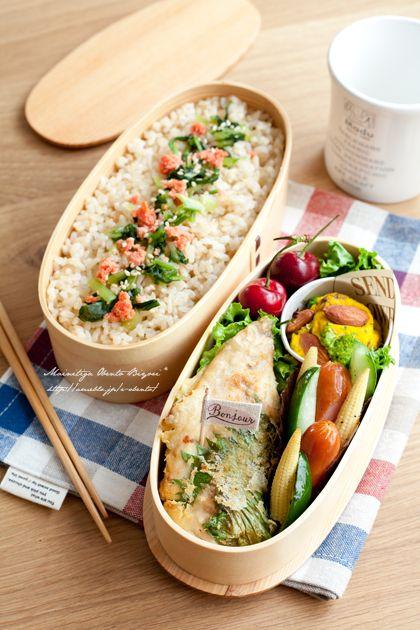 ・アジと大葉の梅肉天ぷら ・かぼちゃとプルーンのサラダ ・ウインナーとズッキーニのソテー ・玄米ご飯(みぶな漬け、焼き明太子) ・アメリカンチェリー