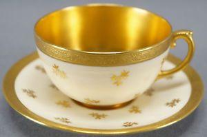 Coalport 6163/B Cream & Gilt Floral & Encrusted Tea Cup & Saucer C. 1891 - 1920