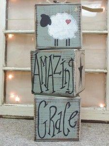 "Primitive ""Amazing Grace"" 51/2″ x 51/2″ Wooden Sheep Blocks"