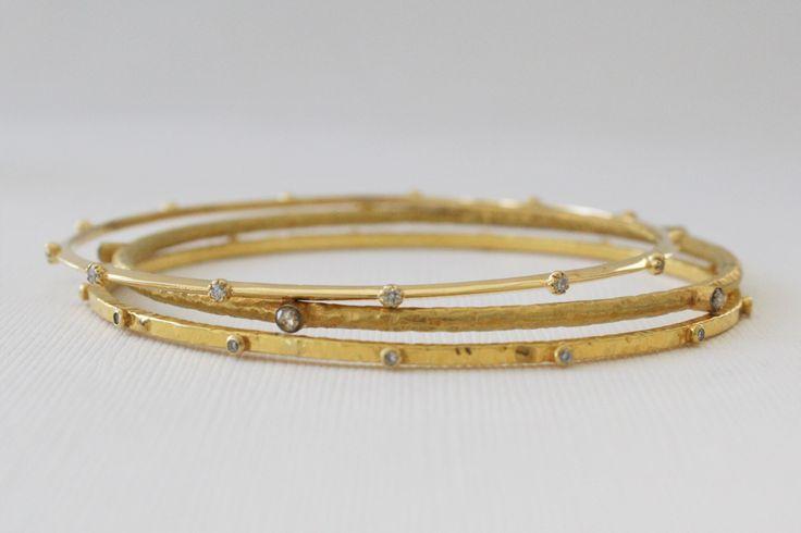 SET - 3 Solid Gold Diamond Bangle Bracelets in 18K Solid Gold