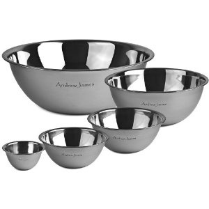Andrew James Professional Stainless Steel 5 Piece Mixing Bowl Set - 0.5L, 1L, 2L, 5L & 10L: Amazon.co.uk: Kitchen & Home