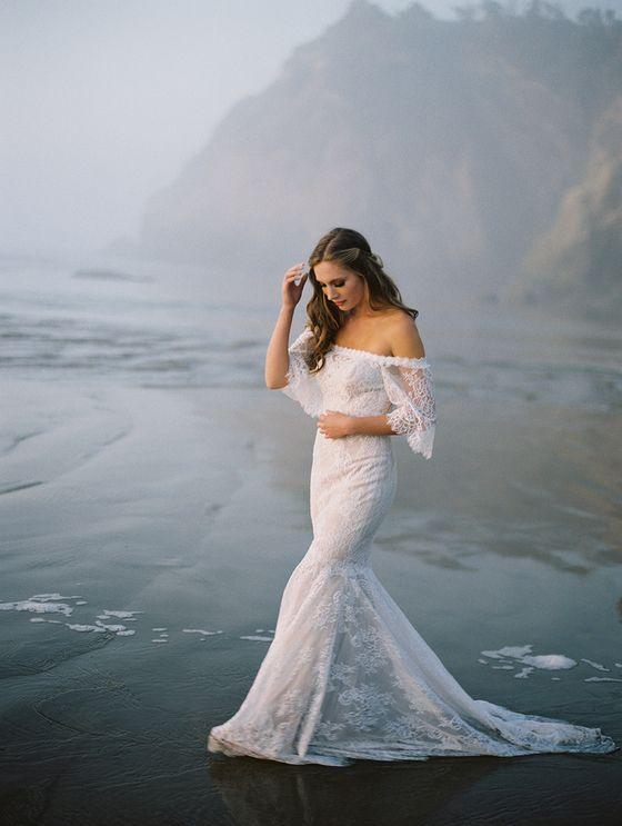 Wilderly Bride by Allure Bridals F124 Off shoulder lace wedding dress