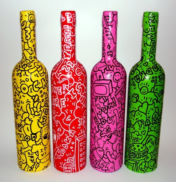 Botellas pintadas vidrio pintado pinterest bottle - Botellas de cristal decoradas ...