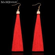 5 Colors 14K Gold Plated Fiber Tassel Long Drop Earrings for Bridal Women Wedding Party Jewelry Accessories EH422(China (Mainland))