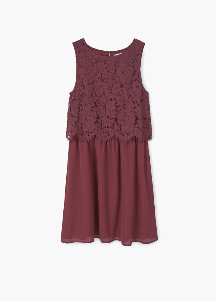 Платье с кружевным верхом | MANGO МАНГО