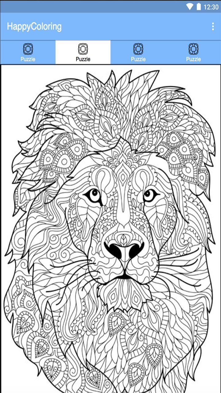 Paint By NumberHappy Color Pixel Lion coloring pages