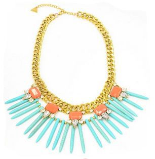 Lime Lush Boutique - Turquoise and Coral Necklace with Thick Gold Chain, $44.99 (http://www.limelush.com/turquoise-and-coral-necklace-with-thick-gold-chain/)