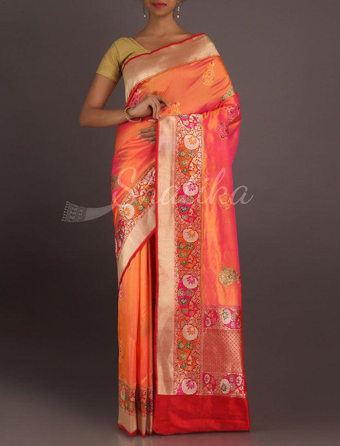Damini Dual Shaded Ornamental Border Real Zari Pure #KatanSilkSaree