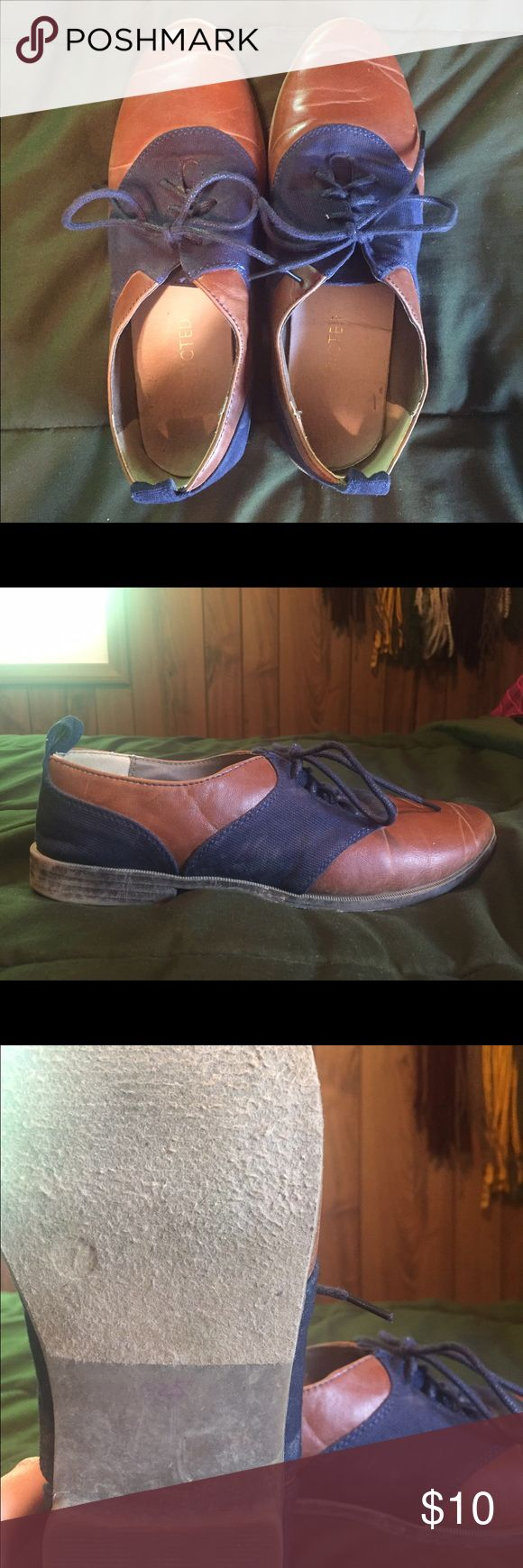 blue and brown flats/saddle shoes super cute and comfy saddle shoes! they look adorable with jeans or a skirt. Size 7 Restricted Shoes Flats & Loafers