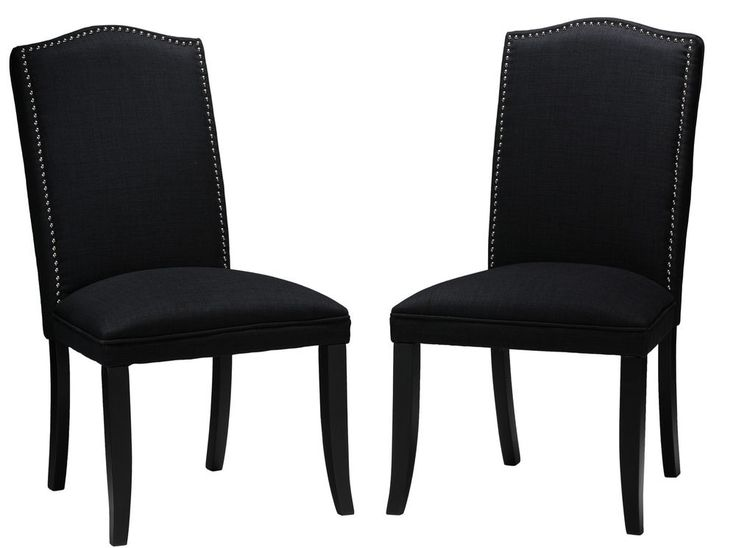Black Linen Fabric Camelback Dining Chair With Metal Nailhead Accents Set Of