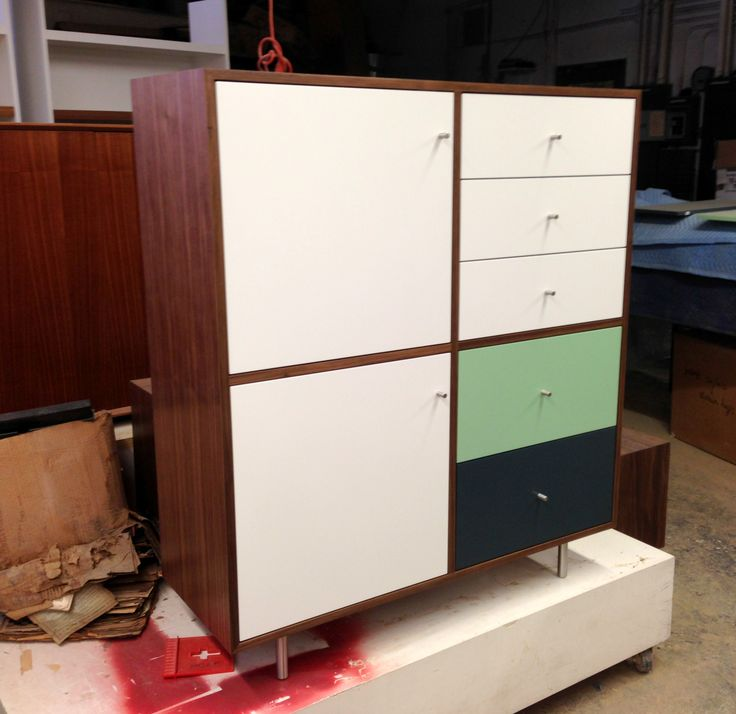 CUSTOM MID CENTURY LOOK WARDROBE/DRESSER. Walnut Veneer With Lacquer Fronts  And Cylinder Pulls