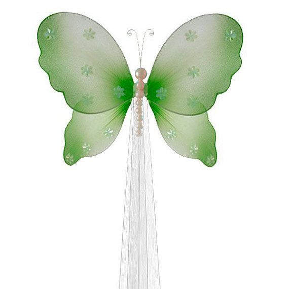 BUTTERFLY CURTAIN TIE - green Isabella butterflies tieback tie back holdback hold back baby nursery room decor girls room decoration