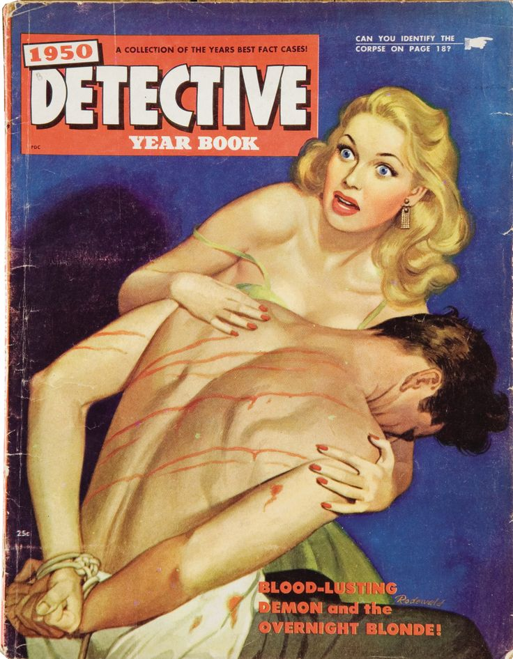 Detective Year Book Magazine 1950  / vintage hardboiled torture pulp cover art