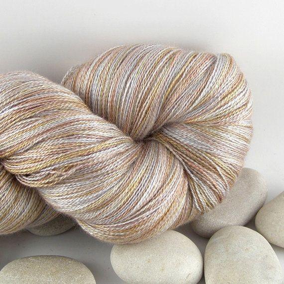 Silk Knitting Yarn : Hand Dyed Cashmere Silk Knitting Yarn - Lace Weight, Variegated - Sand