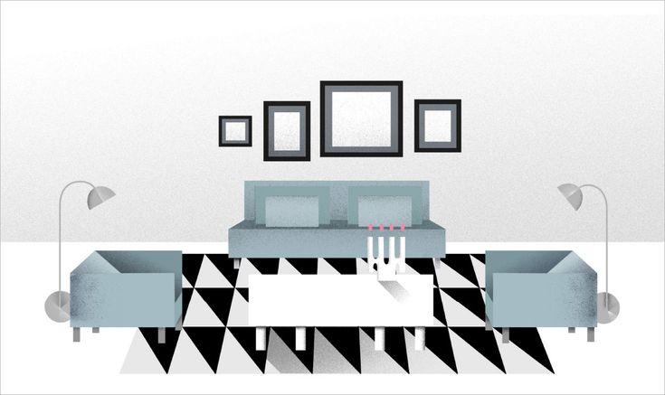 Le tapis doit unir vos meubles. Dans le séjour illustré ici, les pieds avant des meubles reposent sur un grand tapis noir et blanc.