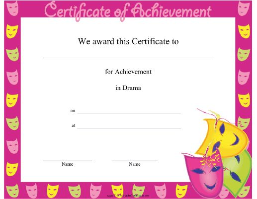 11 best Certificates images on Pinterest Certificate, Drama and - Free Customizable Printable Certificates Of Achievement