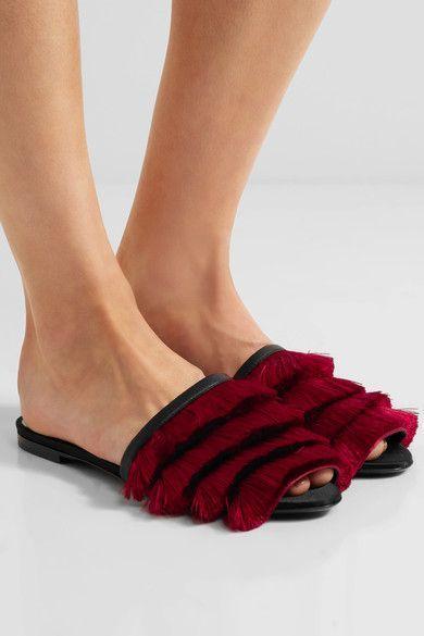 Marco De Vincenzo - Leather-trimmed Fringed Satin Slides - Red - IT36.5