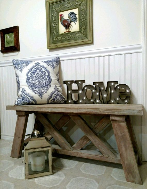 Rustic Bench Indoor/Outdoor Modern Farmhouse by LazyBearDesigns