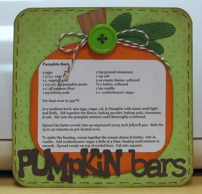Scrapping Mommy: 6x6 Recipe Swap - Pumpkin Bars and My Scrapping Weekend