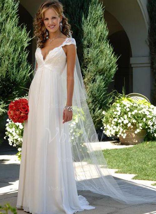 Wedding Dresses - $142.99 - Empire V-neck Sweep Train Chiffon Wedding Dress With Ruffle Lace Beading (0020500112 ONE OF TWO I WANT!!