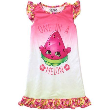 Shopkins Girls' One In A Melon Scented Ruffle Sleeve Gown, Size: 10/12, Assorted