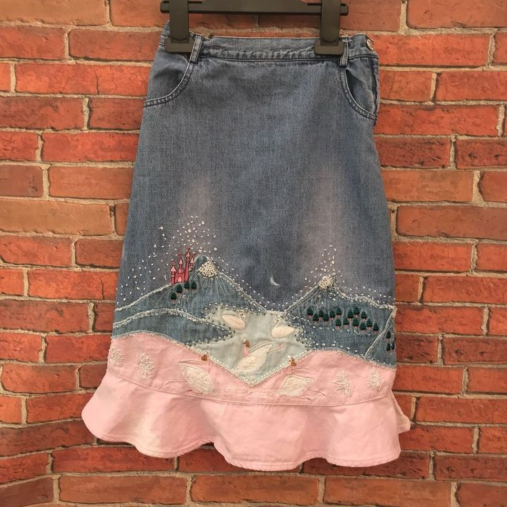 Girls monsoon Denim skirt embroidered ballet castle swan scene hand crafted 4-6y
