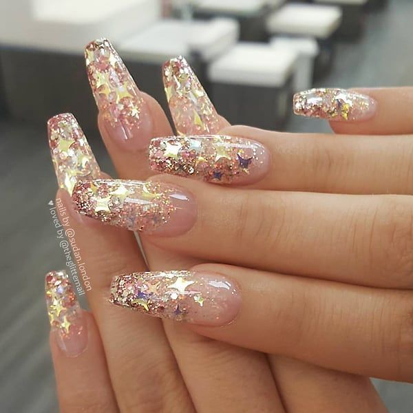 Theglitternail Get Inspired On Instagram Rose Gold Glitter Ombre With Stars On Long Coffin In 2020 Gold Acrylic Nails Gold Nail Art Rose Gold Nails