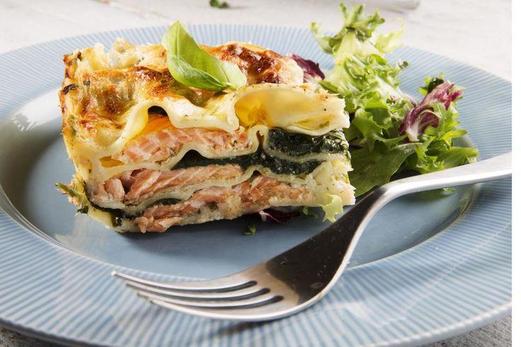 Lasagne med laks og spinat